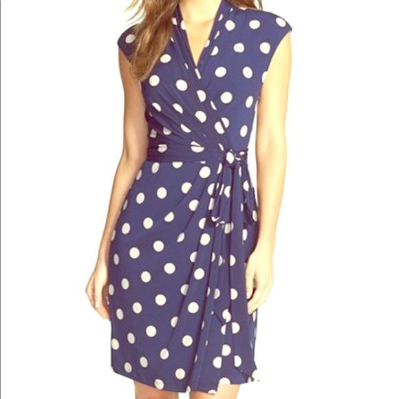 fb53987b2ae Eliza J Dresses & Skirts - Eliza J Polka Dot Jersey Faux Wrap Dress